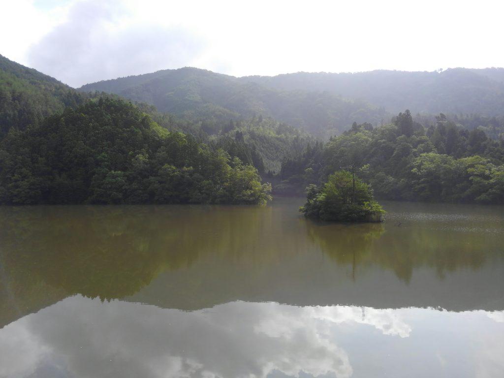 廻り田池(まわりだいけ)。池の真ん中にぽつんと島が浮かんでいます。この日は前日の雨で濁っていました。