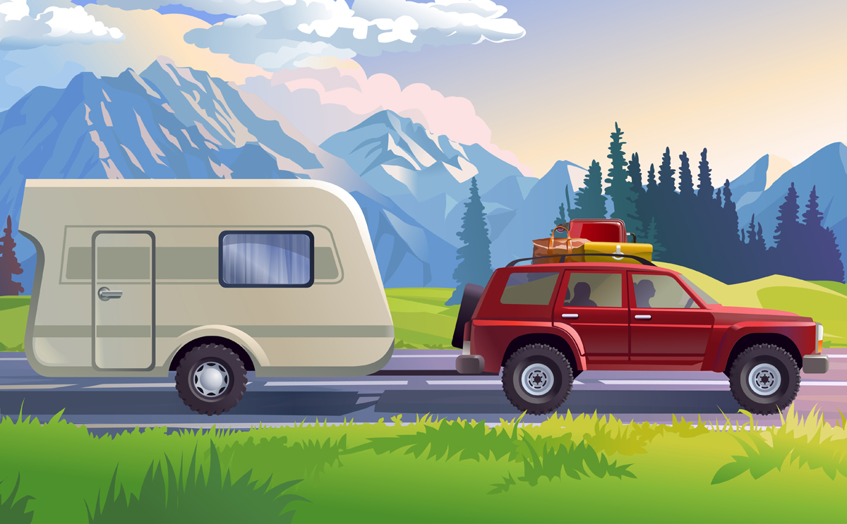 Vector illustration of a mountain landscape with coniferous forest and the car in the foreground