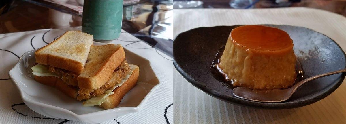 カフェタイムは「小茶朗」に。名物のマンガリッツァ豚のカツサンドと蕎麦プリン。蕎麦パンナコッタもおすすめです!